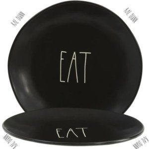 RAE DUNN 11 INCH DINNER 2-PLATES FARMHOUSE BLACK